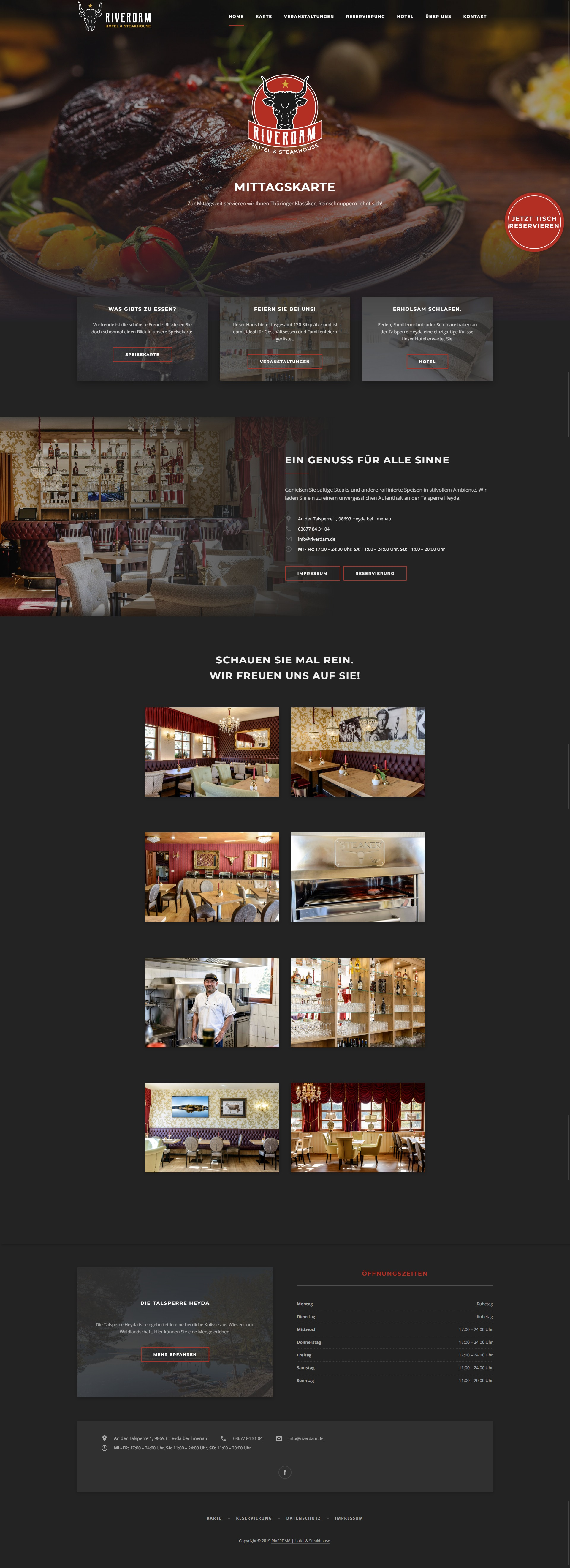 Riverdam Hotel & Steakhouse Website